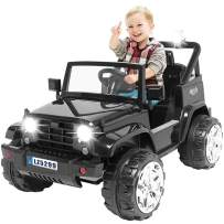 Kuntai Kids Electric Car, 12V Battery Powered Car for Kids,Kids Ride on Car with Remote Control, LED Lights, MP3 Player, Safety Belt, Spring Suspension, Dual Drive (Black)