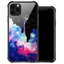 iPhone 11 Case,Purple Space Galaxy iPhone 11 Cases for Women Girl,Tempered Glass Back Soft TPU Fashion Design for iPhone 11 Case 6.1 inch Space Galaxy