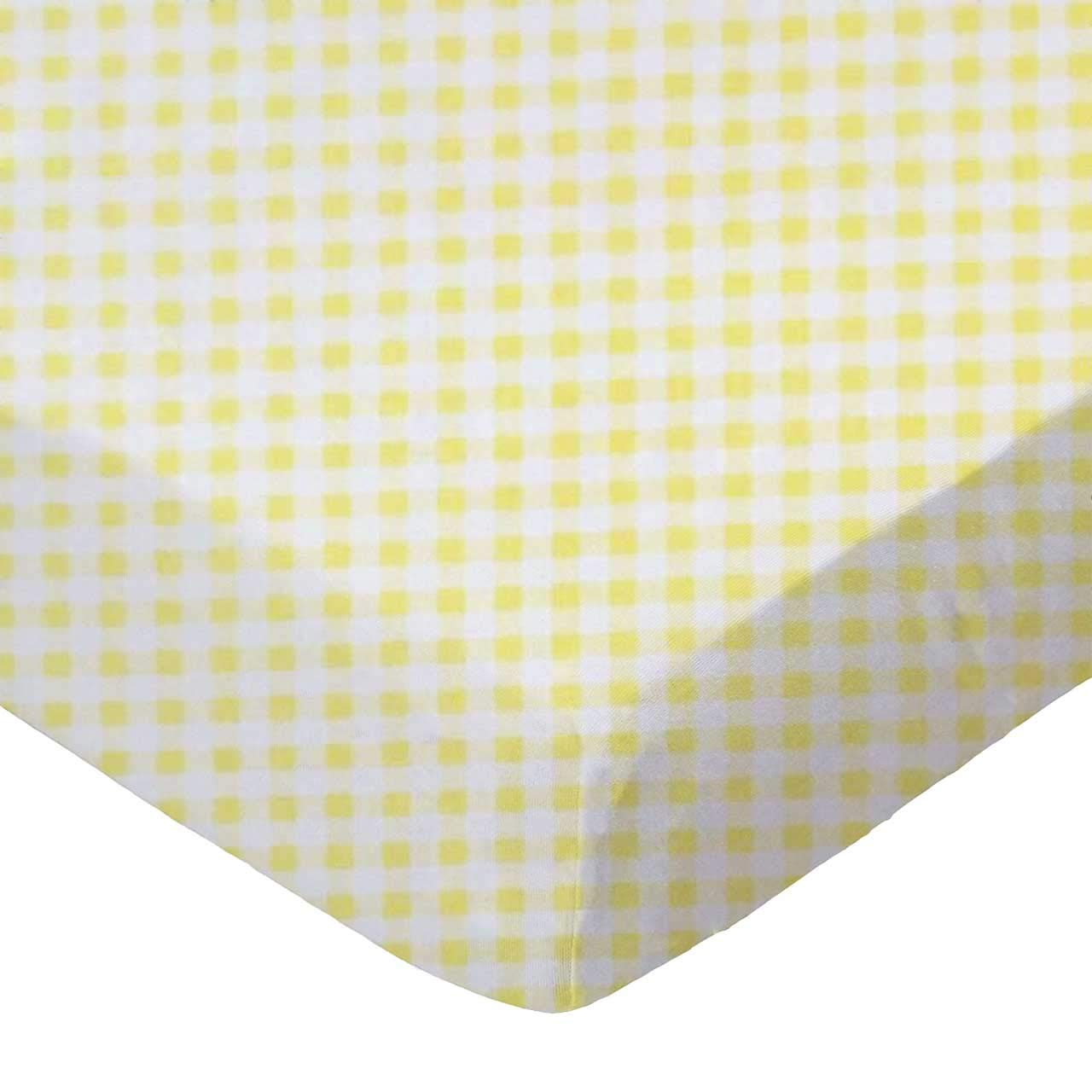 SheetWorld Fitted Basket Sheet - Yellow Gingham Jersey - Made In USA