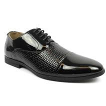 Men's Cap Toe Textured Black Patent Tuxedo Dress Shoes Oxfords by Azar