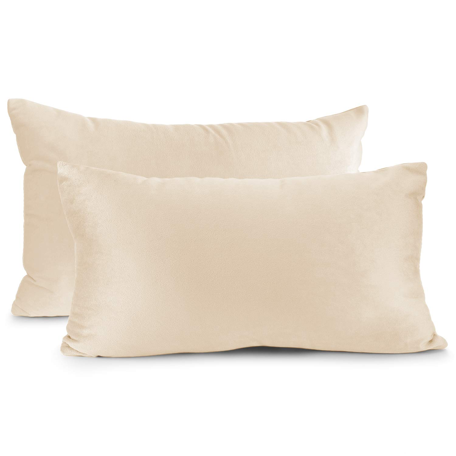 """Nestl Bedding Throw Pillow Cover 12"""" x 20"""" Soft Square Decorative Throw Pillow Covers Cozy Velvet Cushion Case for Sofa Couch Bedroom, Set of 2, Beige Cream"""