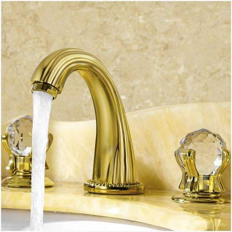 Chrome Bathroom Sink Faucet Widespread Lavatory 2 Knobs 3 Holes Brass Mixer Tap