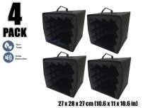 Arrowzoom New 4 Pieces of 10.6 X 10.6 X 11 CM/27 x 27 x 28 inches Black Portable Microphone Isolation Box Shield AZ1159
