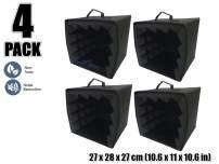 Arrowzoom New 4 Pieces of 10.6 X 10.6 X 11 CM/27 x 27 x 28 inches Black Portable Microphone Isolation Box Shield AZ1159
