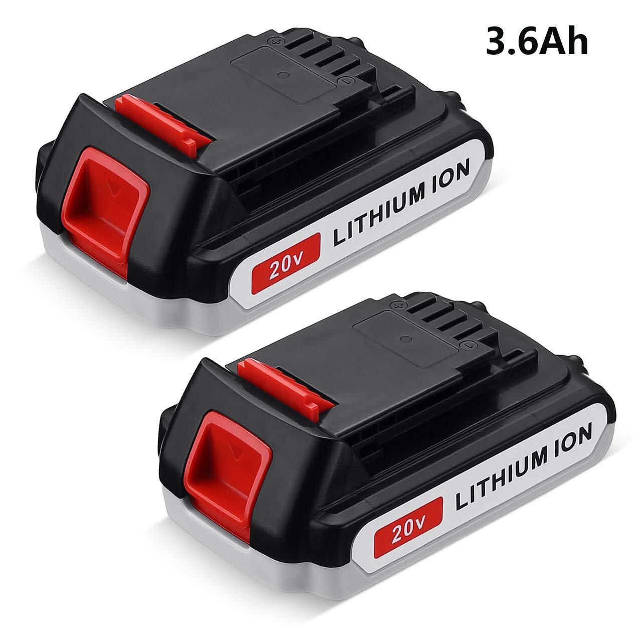 LBXR20 3.6Ah 2Packs for Black+Decker 20V Battery Lithium - LB20 LBX20 LST220 LBXR2020-OPE LBXR20B-2 LB2X4020 Cordless Tool Battery Extended Run Time