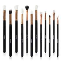 Yuwaku Makeup Brushes for Eye, 12pcs Black Professional Eyeshadow Eyeliner Eyebrow Brushes Tools Essential Cosmetic Brush Kits