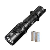 Nitecore P26 Infinite Brightness 1000 Lumen Rotary Switch Tactical LED Flashlight with 2X LumenTac CR123A Batteries