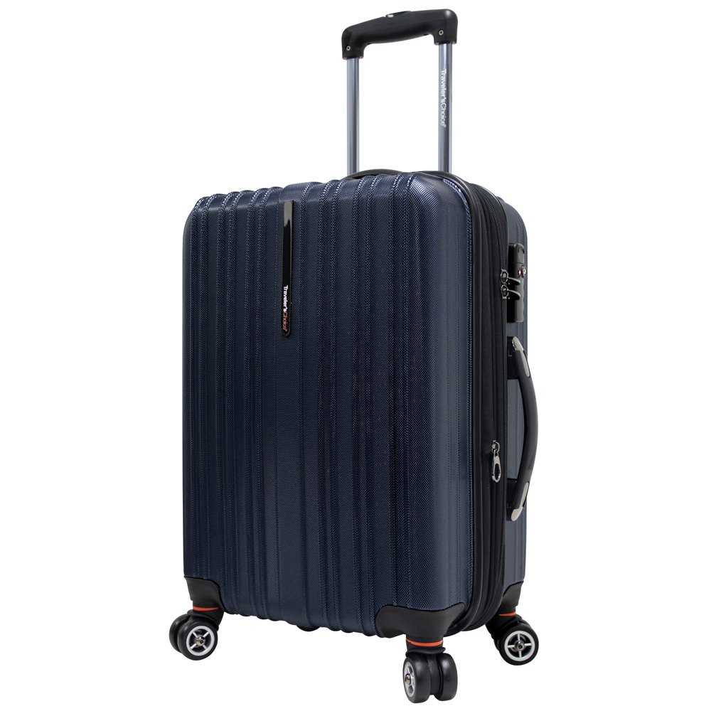 Traveler's Choice Tasmania 100% Pure Polycarbonate Expandable Spinner Luggage, Navy, Carry-on 20-Inch