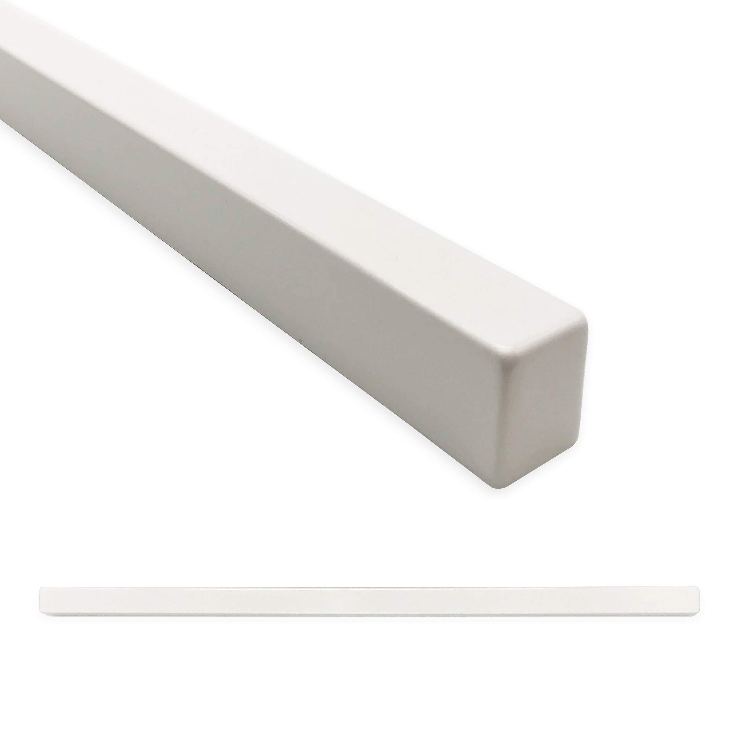 Square Tile Trim 1/2 x 12 inch Flat Pencil Decorative Shower Ceramic Tile Edge Backsplash Liner Wall Molding - Matte Bright White (6 Pack)