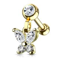 MoBody Clear CZ Jeweled Dangle Butterfly Tragus Earring Surgical Steel Cartilage Helix Piercing Stud 16G