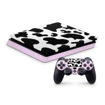 PS4 Pro Skin for Console and Controllers by ZOOMHITSKINS, Same Decal Quality for Cars, Cow Farm Milk Pink Animal Cute White Dairy Pastel, High Quality, Durable, Bubble-free, Goo-free, Made in USA