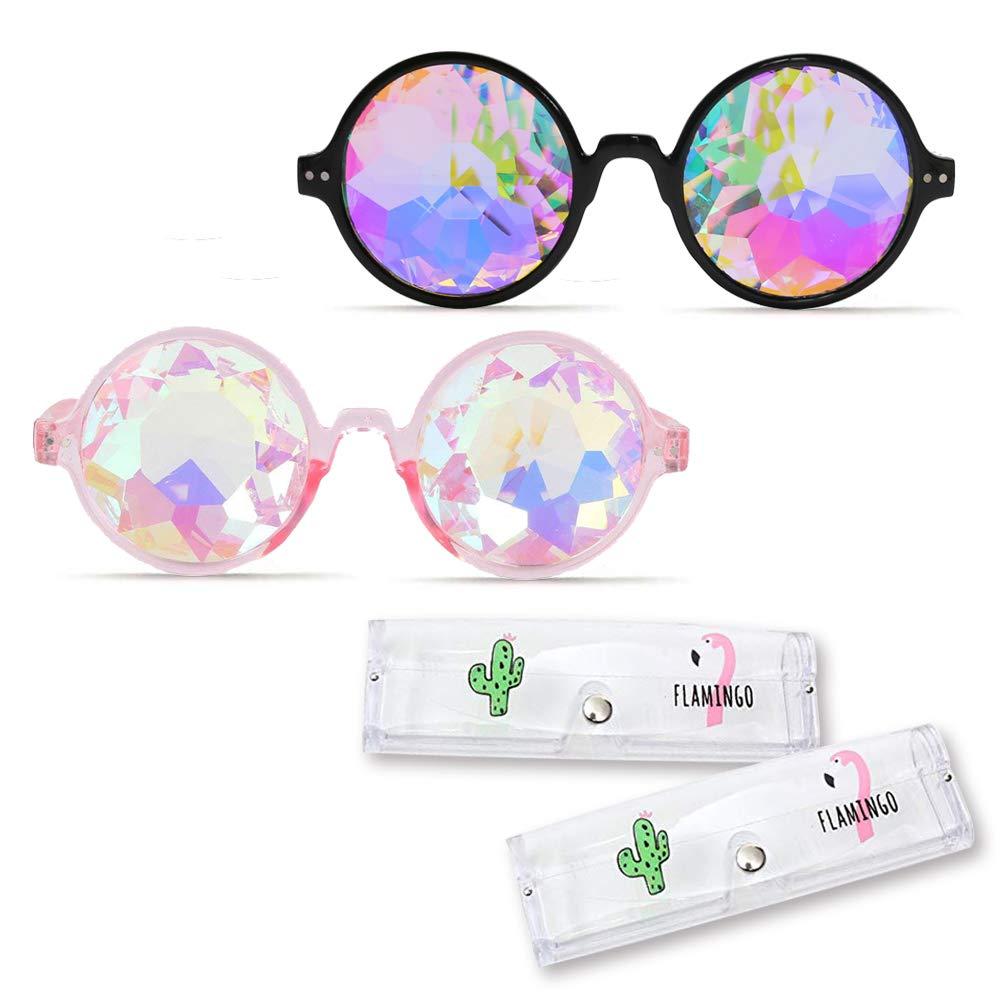 Rave Kaleidoscope Glasses, 2PCS Holographic Kaleidoscope Female Male Retro Sunglasses Funky Prism Glasses, with 2PCS Glasses Case