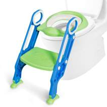 BABY JOY Kids Portable Potty Training Toilet Seat w/Step Stool Ladder, Foldable Adjustable Toddler Toilet Training Seat Chair with Non-Slip Pads and Soft Cushion Seat, for Boys Girls Toddlers (Blue)
