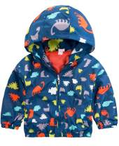 Boys Cartoon Dinosaur Jackets Spring Zip Kids Mesh Lined Hooded Windproof for Toddler Light Outwear