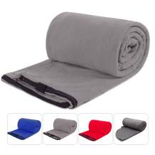 """REDCAMP Fleece Sleeping Bag Liner for Adult Warm or Cold Weather, 75"""" Long Full Sized Zipper Camping Blanket for Outdoor Indoor Used with Sack, Grey"""
