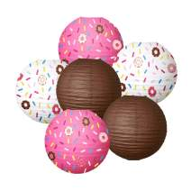 NICROLANDEE Donut Party Supplies12inch PaperLantern Donuts Grow UpBirthday Party ForBabyShower KidsParty Decor Ice Cream Party Decorations(6PCS)