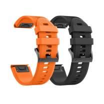 Notocity Compatible Fenix 5X Watch Bands 26mm Silicon Watch Strap for Fenix 5X/Fenix 5X Plus/Fenix 6X/Fenix 6X Pro/Fenix 3/Fenix 3 HR/Descent MK1/D2 Delta PX/D2 Charlie for Men Women(Black/Orange)