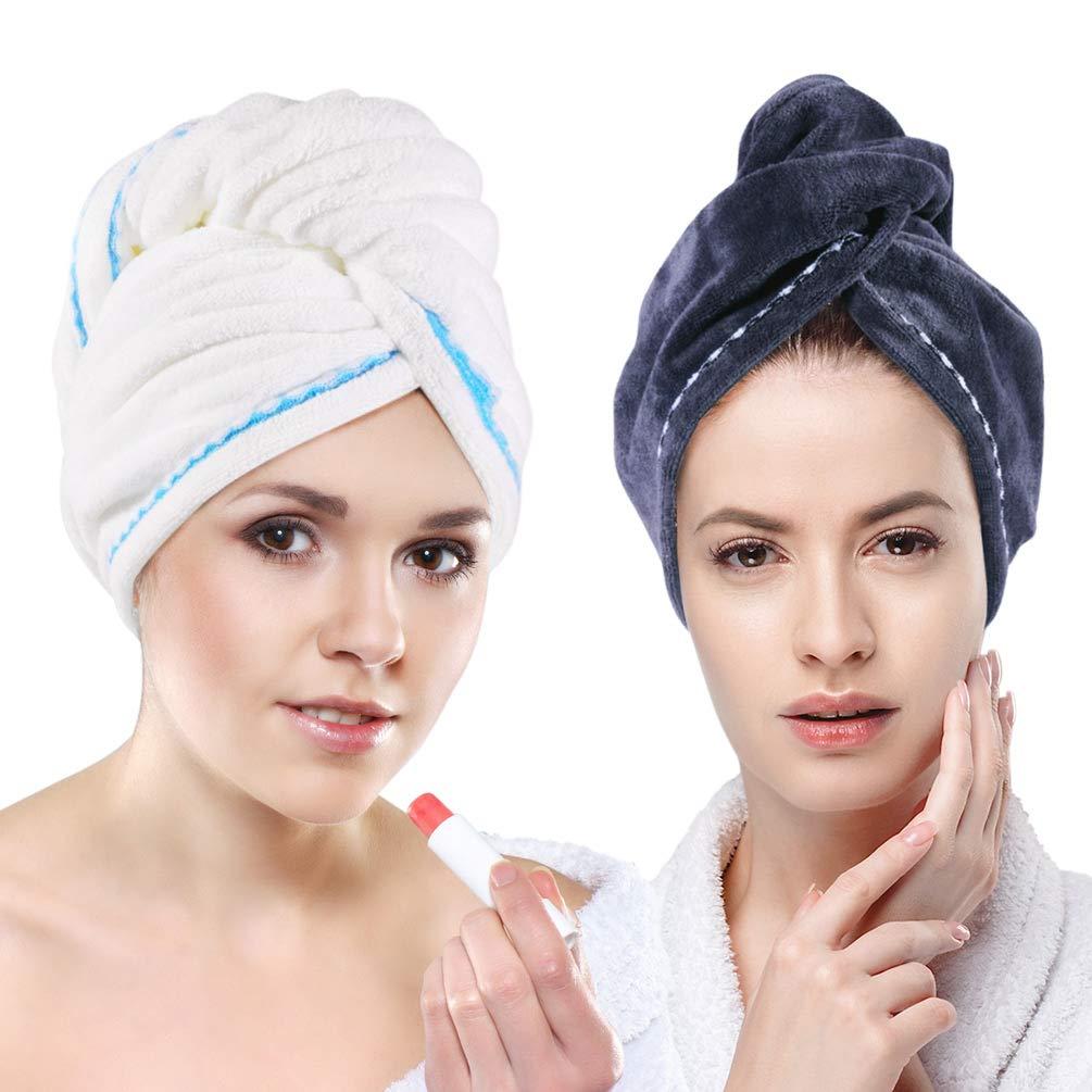 Microfiber Hair Towel Wrap, Quick Dry Hair Wrap Towels - Hair Drying Towels Turban for Wet Hair, Absorbent Hair-Drying Towel Wrap for Women Girls (Gray + White, 2 Pack)