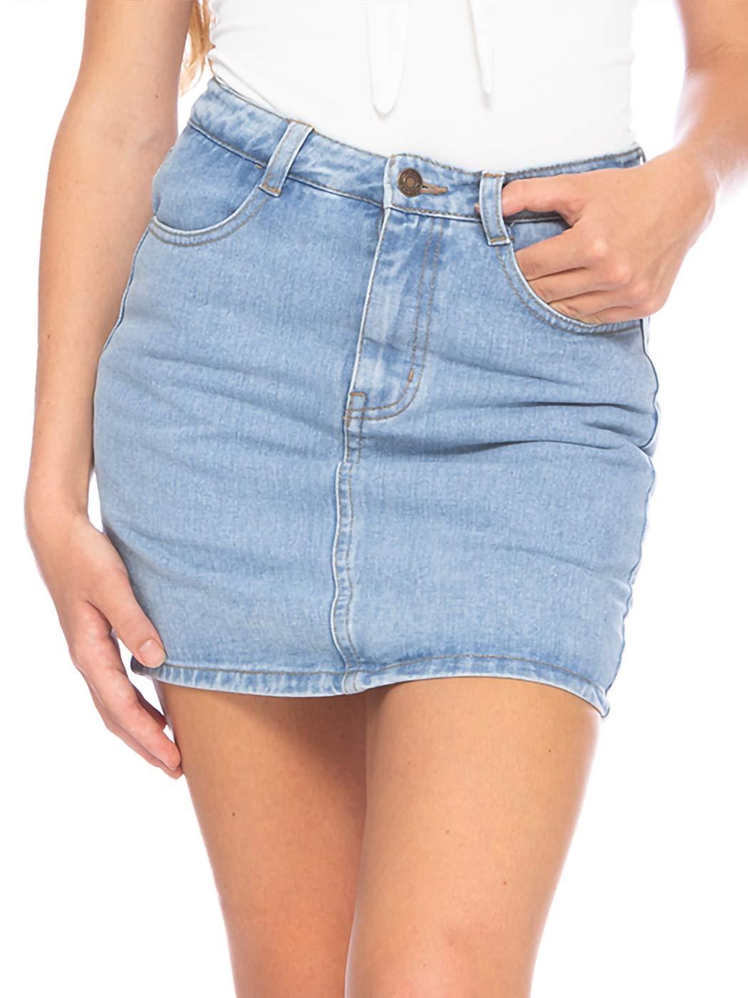 Anna-Kaci Women's Casual Denim Jean Mini Pencil Skirts with Shorts Underneath