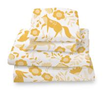Where The Polka Dots Roam Full Size Bed Sheets Marigold Yellow Folktale Print 4 Piece Set │ Unisex, Flexible Microfiber, Durable, Wrinkle-Resistant Bedding │ Boys, Girls, Baby, Kids, Toddler, Teen
