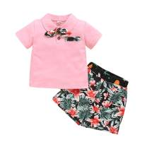 Toddler Baby Boy Summer Clothes Kids Button Down Bowtie Shirt Tops Floral Dinosaur Print Short Pants Outfit Set