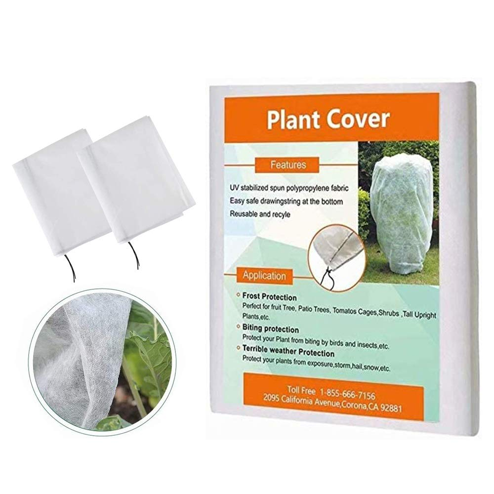 Agfabric Plant Covers Freeze Protection 40''x60'' Shrub Jacket with Drawstring, Winter Tree Cover for Frost Proctection Pest Protection, 2 Pack