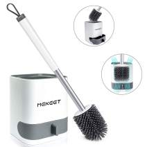 MEKEET Toilet Bowl Brush and Holder Soft Silicone Bristle with Detachable Water Storage Drawer Bathroom Toilet Brush - Wall Mounted