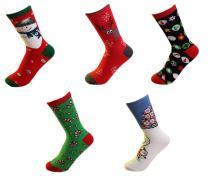 Zaptex Christmas Socks Women Socks Colorful Warm Cotton Socks 5&6 Pair