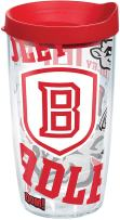 Tervis 1272290 Bradley University Braves All Over Tumbler with Wrap and Red Lid 16oz, Clear