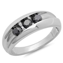 Dazzlingrock Collection 1.10 Carat (ctw) 3-Stone Black Round Diamonds Men's Anniversary Wedding Band 1 CT, Sterling Silver