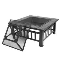 Lovinland Outdoor Fire Pit, Metal Patio Stove Square Table Fire Bowel Wood Burning Fireplace with Spark Screen,Poker,Grill