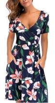 Womens Floral Wrap Dress V Neck Short Sleeve Flared Midi Dresses with Belt Pockets