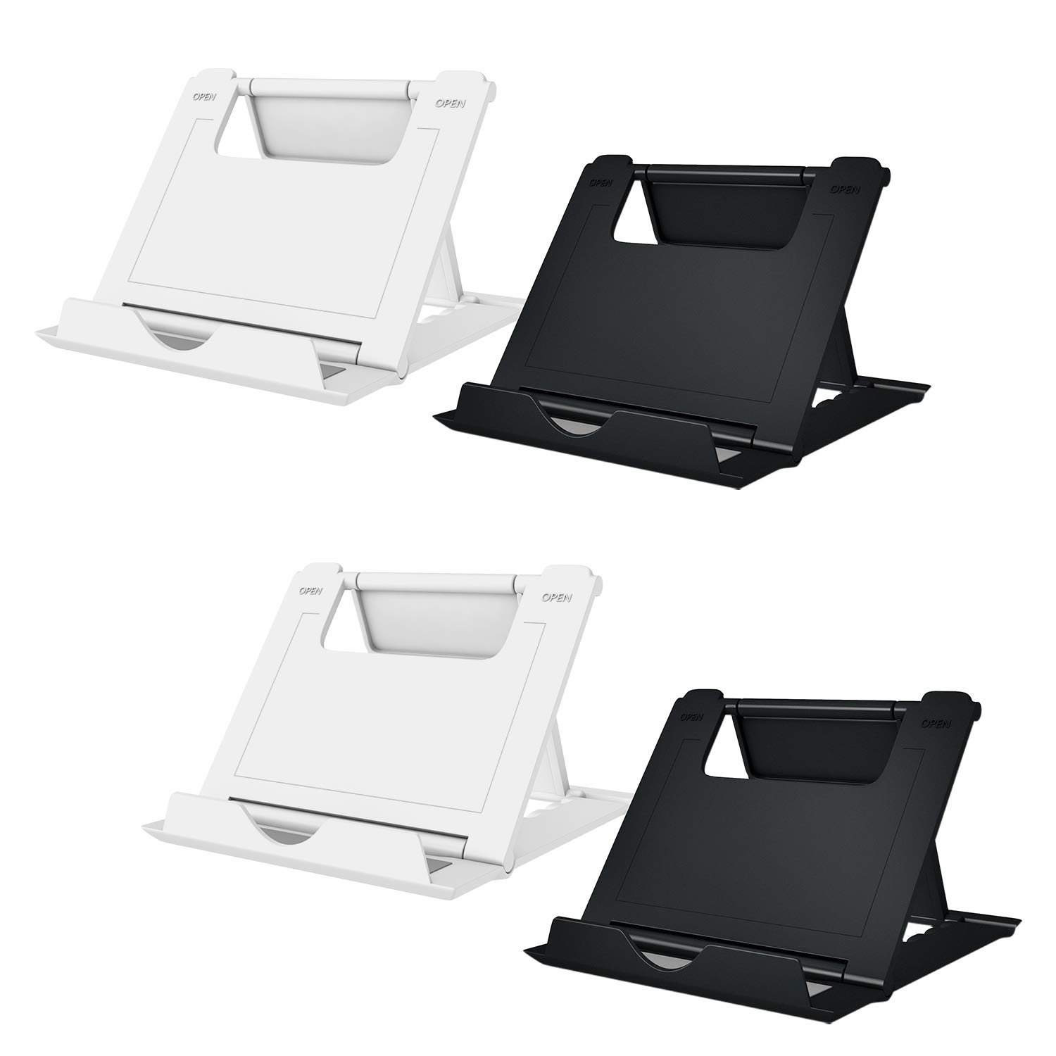 """Elimoons Phone Stand, 4 Pack Cell Phone Stand, Universal Foldable Tablet Stand Multi-angle Pocket Desktop Holder Cradle Compatible Phone XR XS Max X/8/7 Plus/7/6s/6/5/4 SE, Tablets(6-11""""), Black/White"""