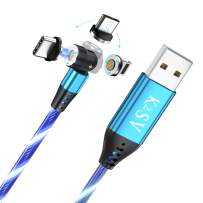 K2SV Luminous Magnetic Charging Cable 540° Rotation Magnetic Flowing Phone Charger Cable, 3A Fast Charge with Data Transfer, Magnetic Cable Compatible with Micro USB, Type C and iProduct (Blue)