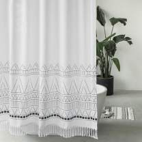 Seavish Tassel Shower Curtain, 72 x 72 Boho Fabric Shower Curtains with White Fringes,Chic Bohemia Bathroom Curtains Set with Hooks, Simply Design, Heavy Weighted and Waterproof