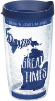 Tervis 1223744 Michigan State Outline Tumbler with Wrap and Navy Lid 16oz, Clear