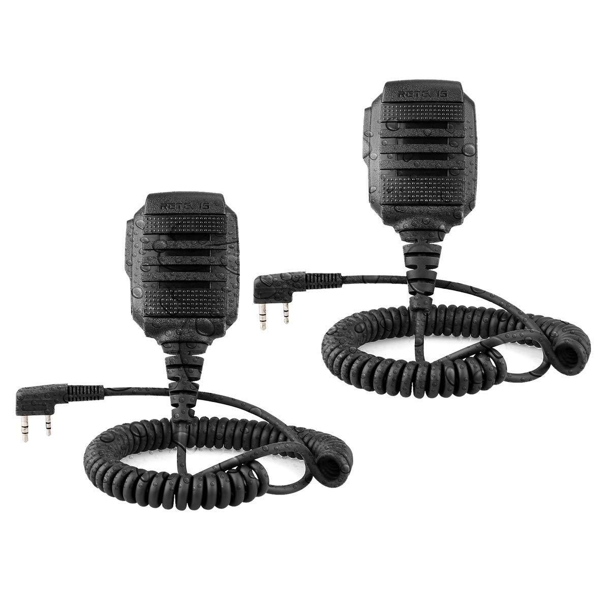 Retevis Walkie Talkie Mic Shoulder Speaker Waterproof Microphone for Baofeng UV-5R Retevis RT19 RT22 RT27 RT-5R Arcshell AR-5 Two Way Radios (2 Pack)