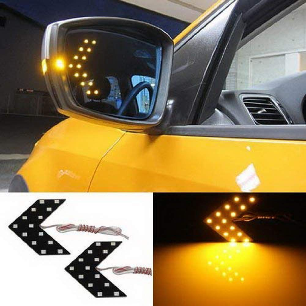 iJDMTOY Pair 14-SMD Arrow Shape LED Circuit Board Panels For Behind The Side Mirror Turn Signal Retrofit, Amber Yellow