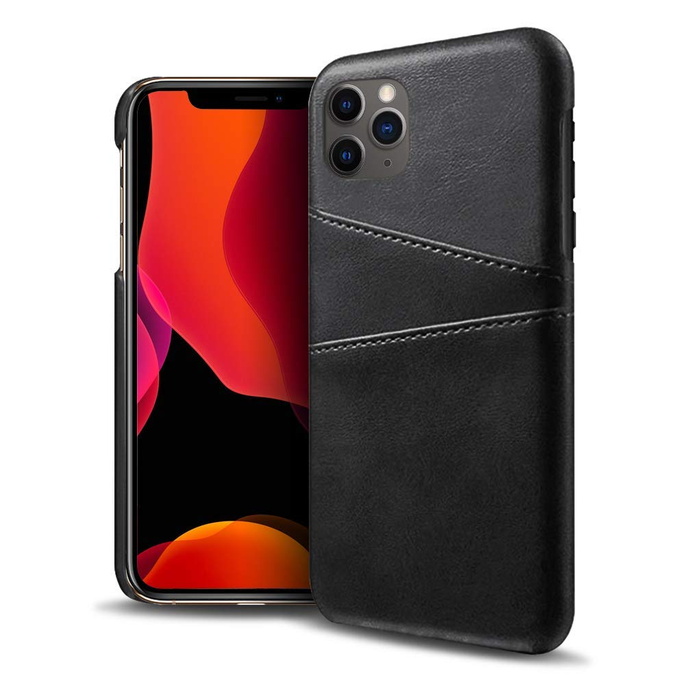 Olixar for iPhone 11 Pro Wallet Case - PU Faux Leather Cover - RFID Blocking - Credit Card Storage - Wireless Charging Compatible - Farley - Black