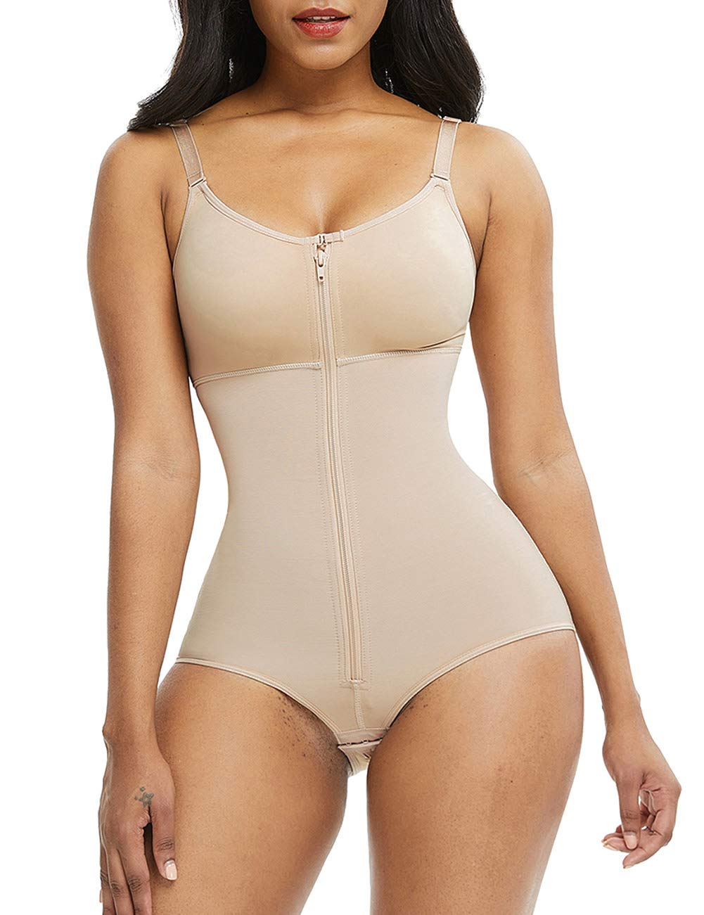 SHER Women Sexy Backless Butt Lifter Bodysuit V Neck Thong Tummy Control Shapewear Straps Seamless Slimming Body Shaper