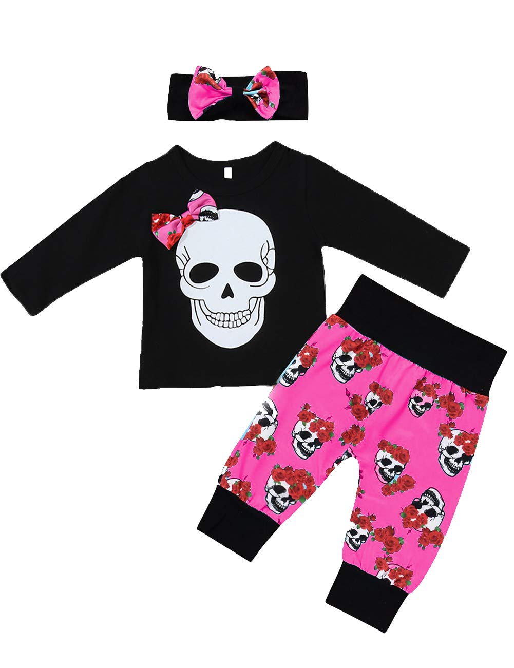 Halloween Toddler Baby Girl Clothes 2PCs Outfit Set Skull T-Shirt and Floar Pants Kids Clothes