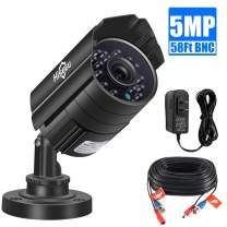 """Hiseeu 5MP Outdoor Security Camera,AHD/CVI/TVI/XVI 1/3"""" CMOS CCTV Home Surveillance IP66 Weatherproof 3.6mm Lens with IR Cut,9.8Ft Power Cable,DC 12V 1A Power Adapter, 58Ft BNC Cable"""