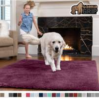 Gorilla Grip Original Faux-Chinchilla Area Rug, 2x4 Feet, Super Soft and Cozy High Pile Washable Carpet, Modern Rugs for Floor, Luxury Shag Carpets for Home, Nursery, Bed and Living Room, Plum
