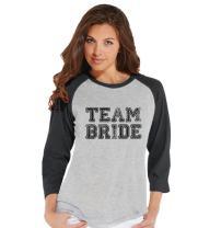 7 ate 9 Apparel Women's Team Bride Baseball Tee