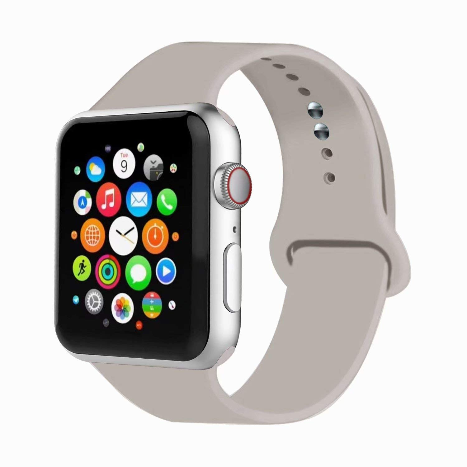 IYOU Sport Watch Band Compatible with Watch 38MM 42MM 40MM 44MM, Soft Silicone Replacement Sport Strap Compatible with Watch Series 5/4/3/2/1