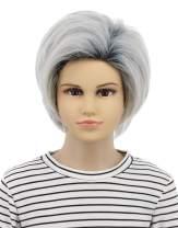 Karlery Kids Child Short Straight Bob Dark Root White Wig Two Tone Halloween Costume Cosplay Anime Wig