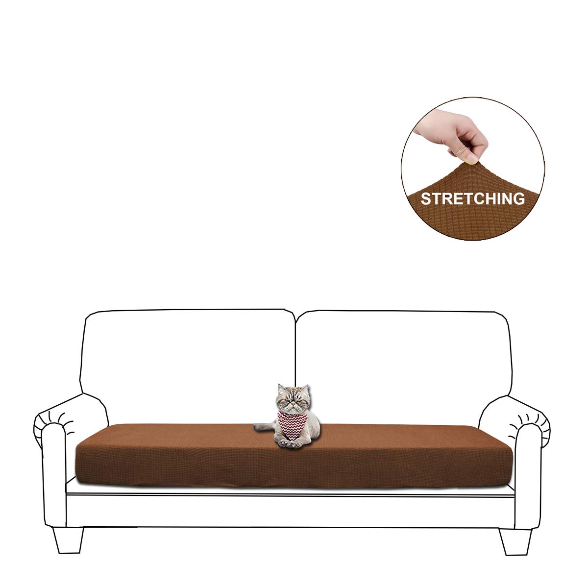 WOMACO Sofa Cushion Cover, Water Repellent Couch Slipcover Stretch Cushion Protector for Sofa Seat (Brown, Loveseat Cushion)