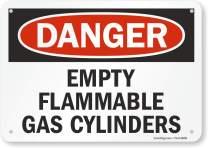 "SmartSign""Danger - Empty Flammable Gas Cylinders"" Sign | 7"" x 10"" Aluminum"