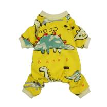 Fitwarm Dinosaur Pet Clothes for Dog Pajamas Cat PJS Jumpsuits Shirts Cotton Yellow