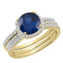 Dazzlingrock Collection 10K 6 MM Round Gemstone & Diamond Ladies Halo Engagement Ring With Double Band Set, Yellow Gold
